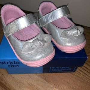 Stride Rite Silver and Pink Slip Ons!